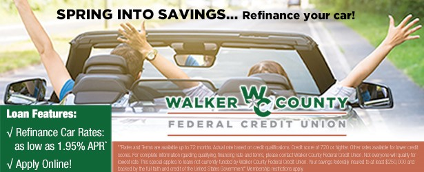 Spring into savings Refinance your car.  As low as 1.95%